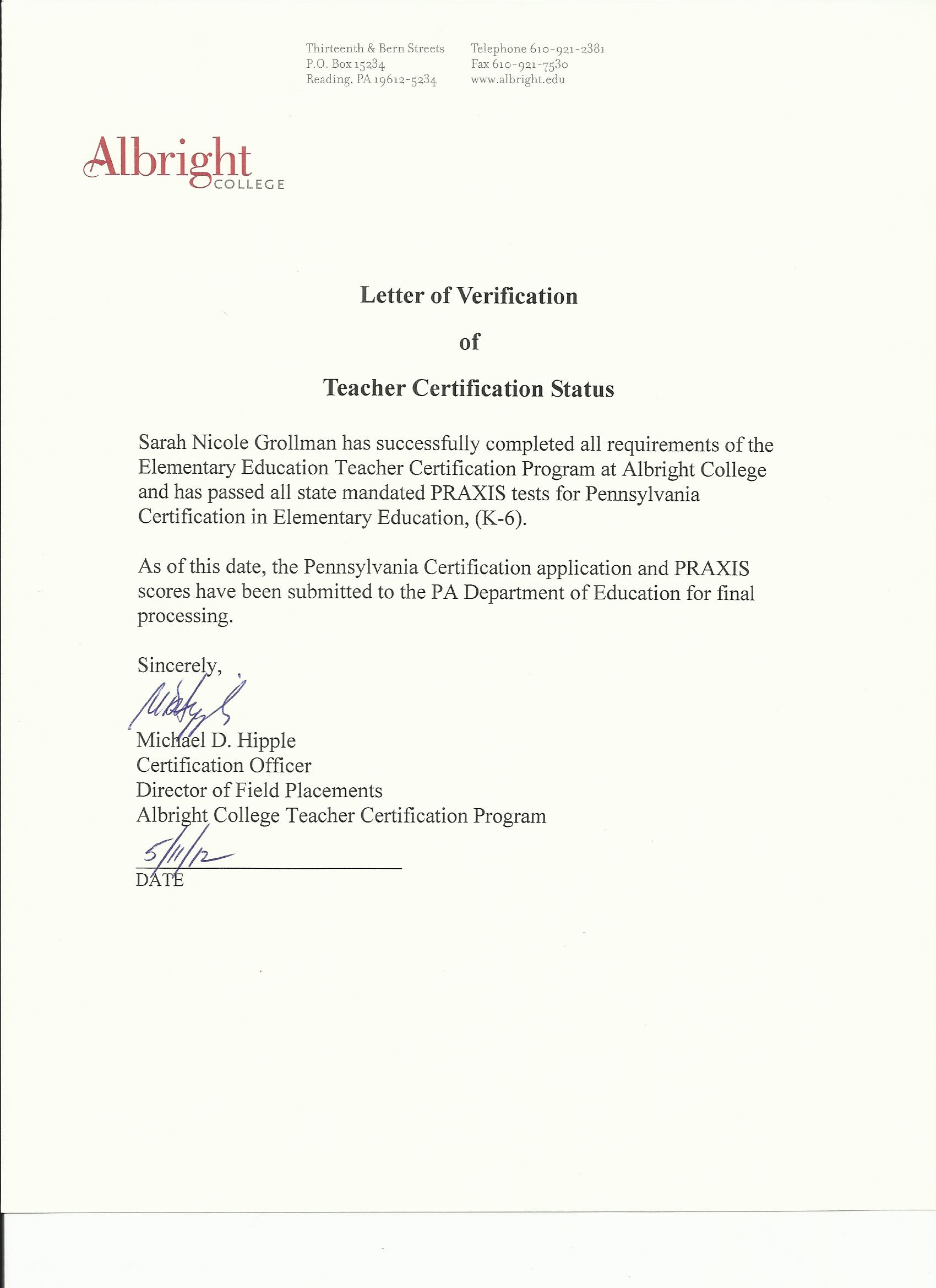 Professional development certification verification letter yelopaper Images